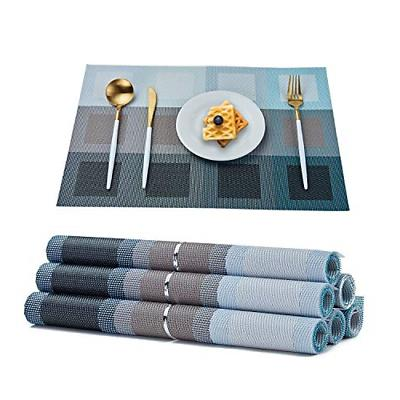 6 set dining table decoration woven vinyl