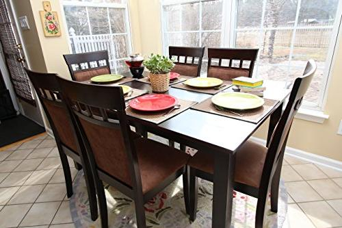 6 Person Chairs Dining - Espresso Brown Beige