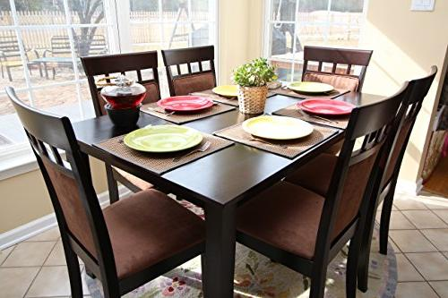 6 Person Table Chairs - Brown Beige