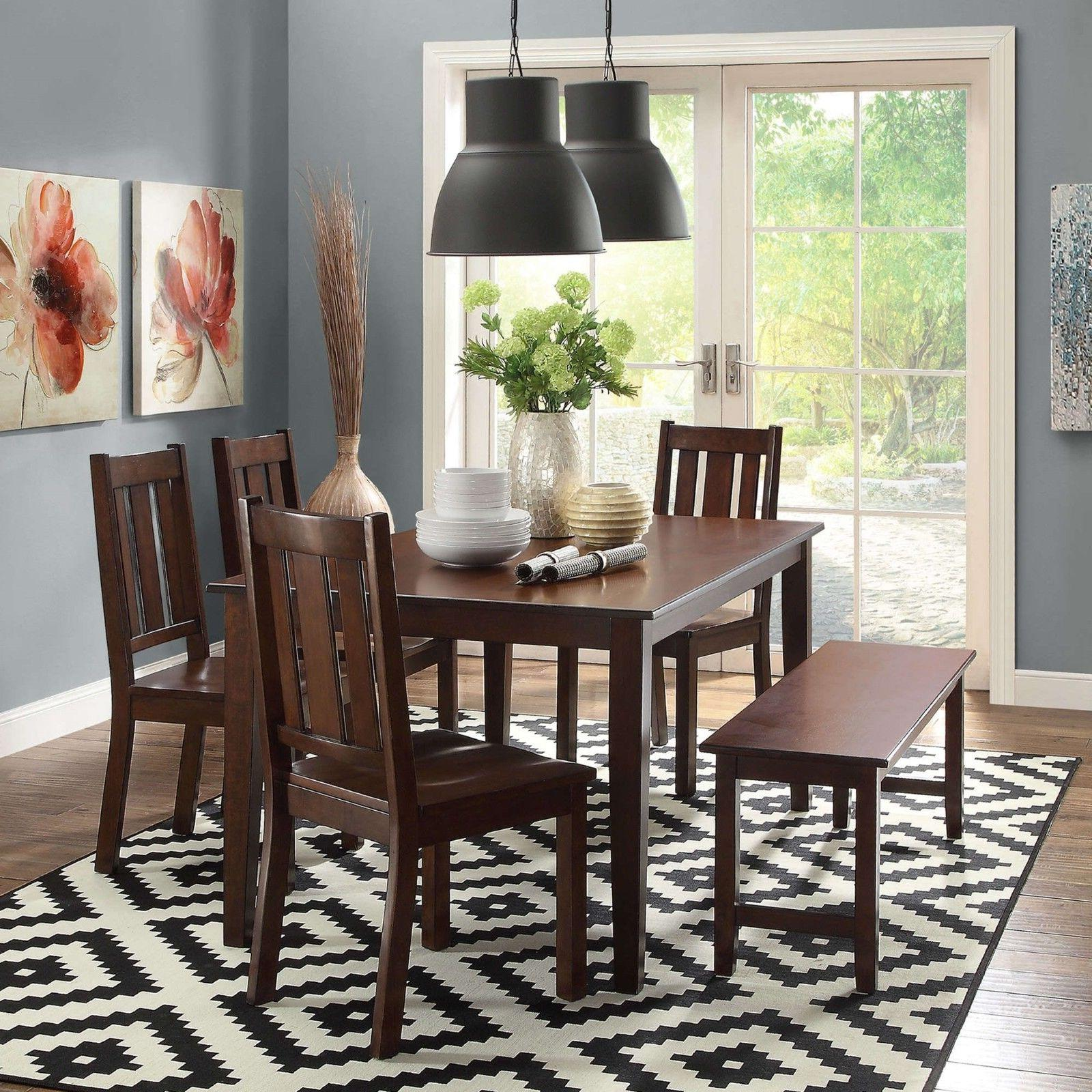 7 Piece Dining Home Chairs Classic Mocha Solid Wood