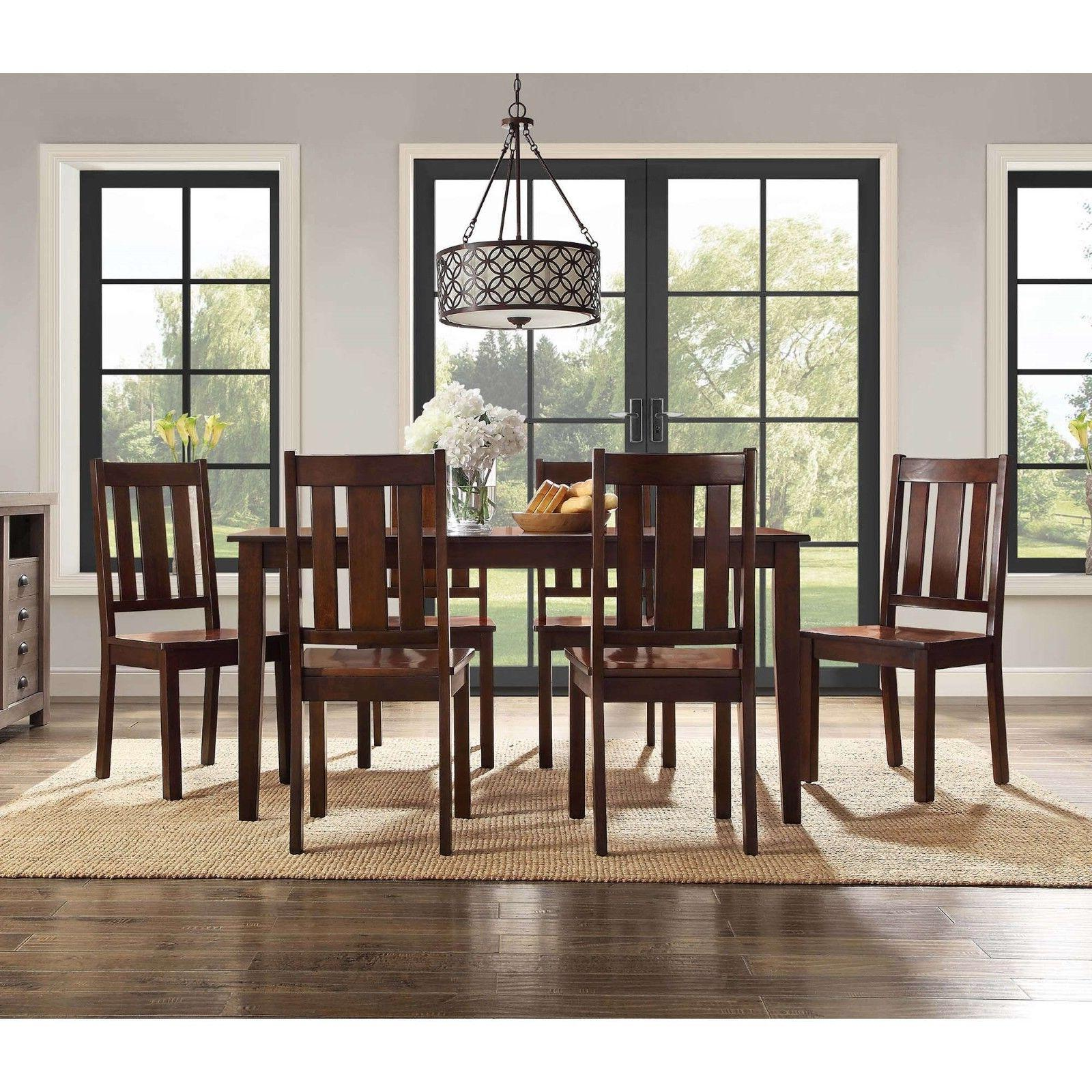 7 Set Home Chairs Solid Wood