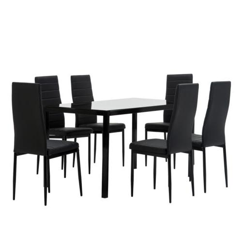 7 Piece Dining Set 6 Chairs Glass Metal Furniture