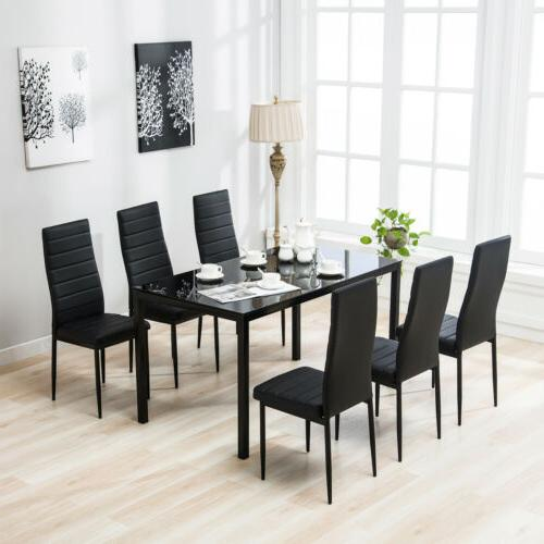 7 Piece Dining Table Set 6 Chairs Black Glass Metal Kitchen