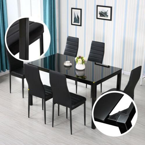 7 Dining Set Glass Table Chairs Furniture