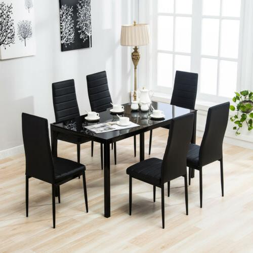 7 Dining Table Set 6 Chairs Glass Metal