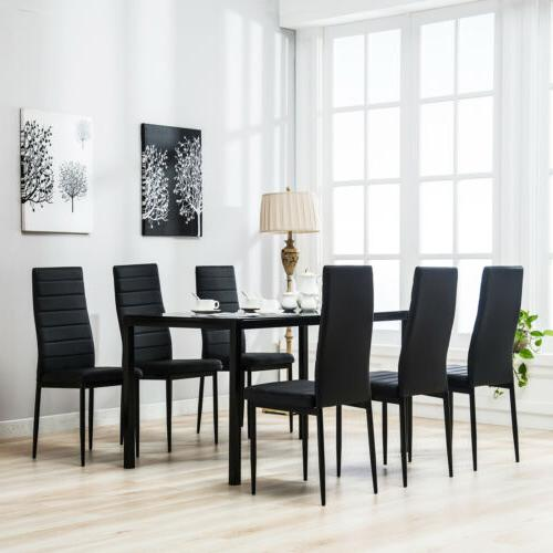 7 Piece Set Chairs Glass Metal Black