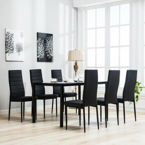 NEW 7 Piece Dining Table Set 6 Chairs Black Glass Metal Kitc