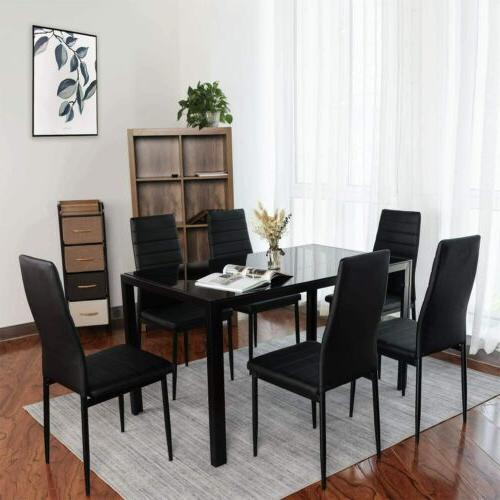 Set + PU Leather Chairs Glass Kitchen Room