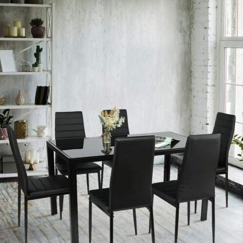 7 Set Leather Chairs Glass Kitchen Breakfas