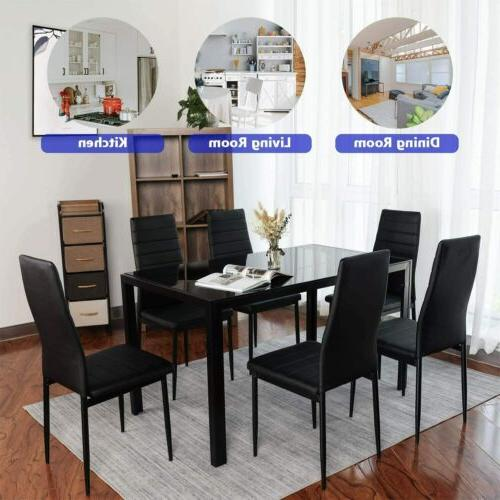 7 Dining Set Leather Chairs Glass Metal Kitchen Room