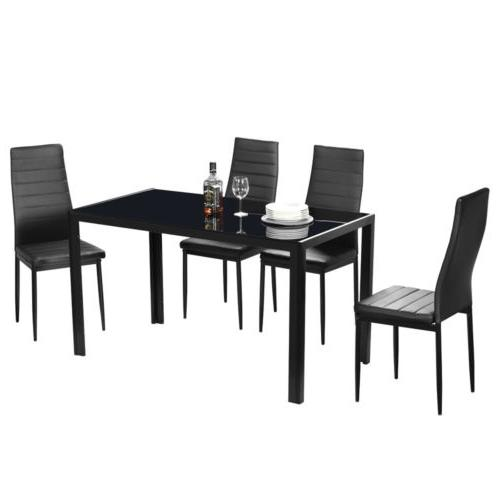 7 Piece Set for Chairs Clear Glass Room Breakfast