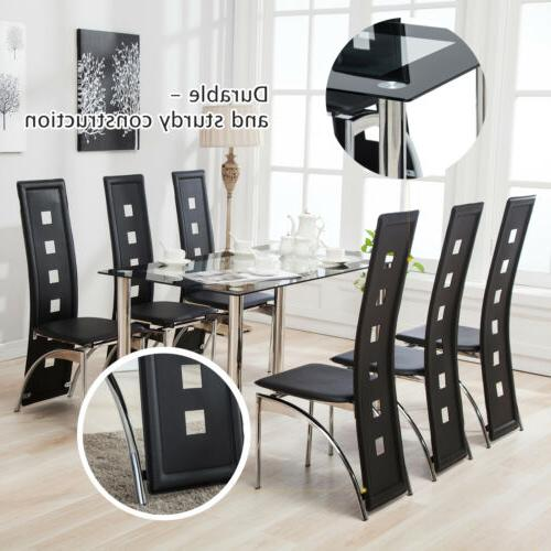 7 Piece Dining Table Set and 6 Chairs Glass Metal Kitchen Ro