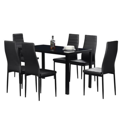 7 piece glass dining table set 6