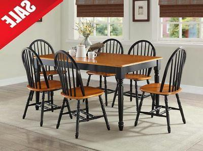 7 Piece Kitchen Dining Table 6 Chairs Set Comfortable Furnit