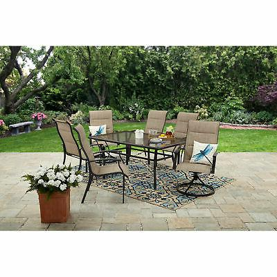 7 Piece Patio Dining Set 6 Chairs 1 Glass Table Modern Garde