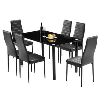 7 Piece Glass Dining Table Set 6 Chairs Room Kitchen Breakfa