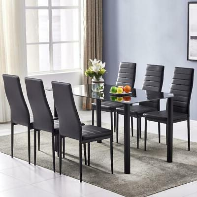 7 pieces dining table black glass table