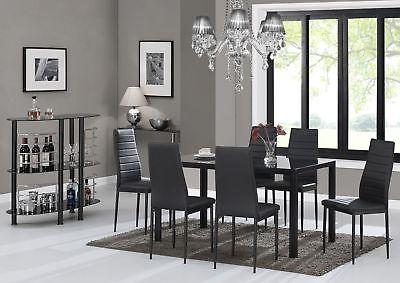 7 pieces modern glass dining table set