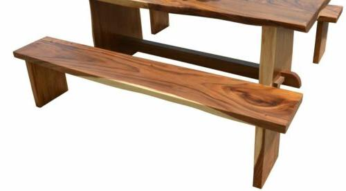 "79"" Edge Dining Table Set 2 Benches"