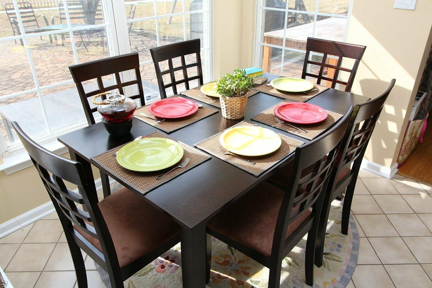 7pc Espresso Dining Room Kitchen Set Table & 6 Wheat Waffle