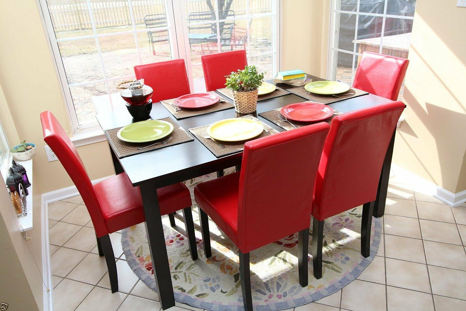 7pc Espresso Dining Room Kitchen Set Table & 6 Red Parson Ch