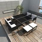 8 Seat Poly Rattan Dining Table Chairs Stools Set Garden Fur