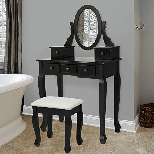 Best Choice Products Vanity Table and Stool Set w/Adjustable
