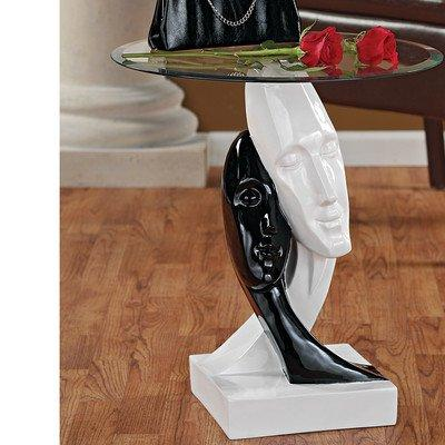 Design Toscano Lovers in Black and White Sculptural End Tabl