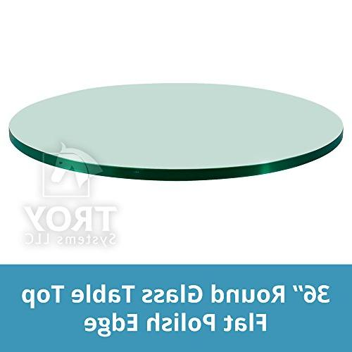 "TroySys Glass Table Top: 36"" Length, 1/4"" Thick, Flat Edge,"