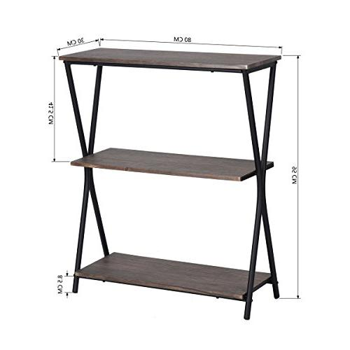 HOMY 3 Bookshelf Home Office Storage Shelves with Metal Frame,Brown