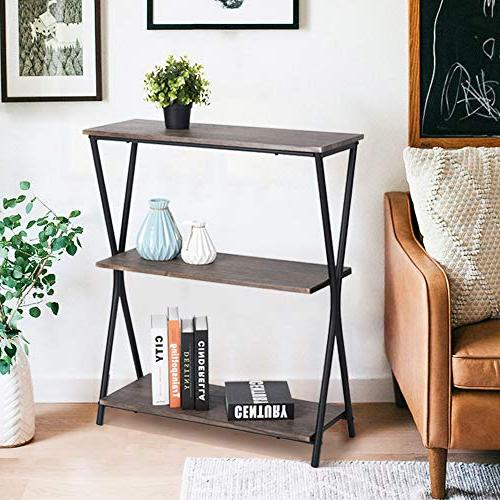 HOMY Bookshelf Home Office Storage Shelves Industrial Wood with Frame,Brown