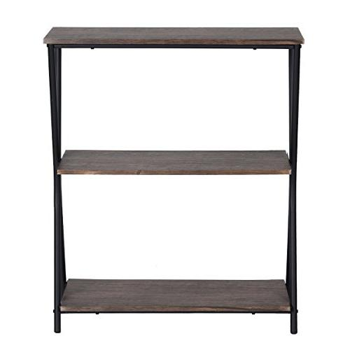 HOMY CASA Tier Bookshelf Home Office with Frame,Brown