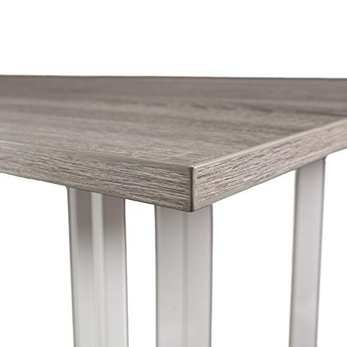 Holly Driness Drop Leaf Console Dining Table, Gray with Metal Base
