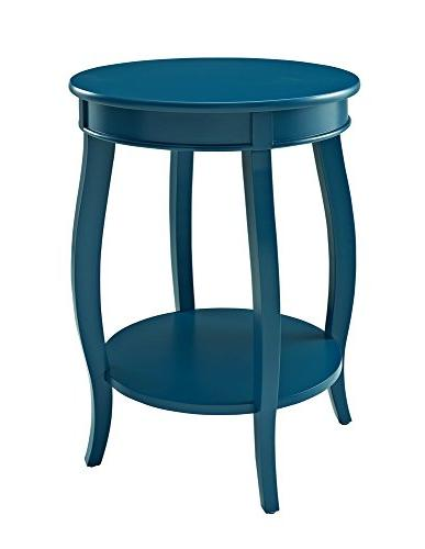 Powell Furniture Teal Round Table with Shelf