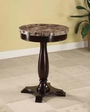 Round Pedestal Table with Marble Veneer Top and Espresso Bas