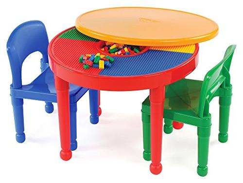 Tot Tutors Kids 2-in-1 Plastic LEGO-Compatible Activity Tabl