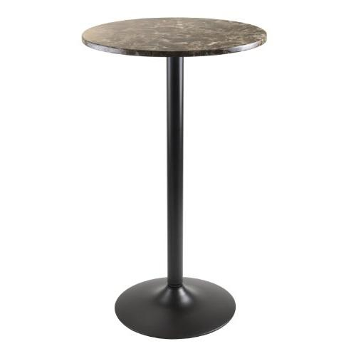 Winsome Wood Cora Round Bar Height Pub Table with Faux Marbl
