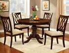NEW ANDERS ROUND BROWN CHERRY FINISH WOOD PEDESTAL DINING TA