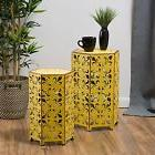 Antique Style Yellow Accent Side Table