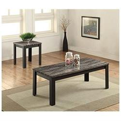 Arabia Faux Marble And Black 3Pc Pack Coffee/End Table Set 8