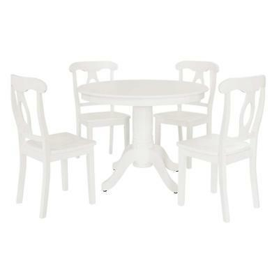 Aubrey 5 piece Traditional Height Pedestal Dining Set, White
