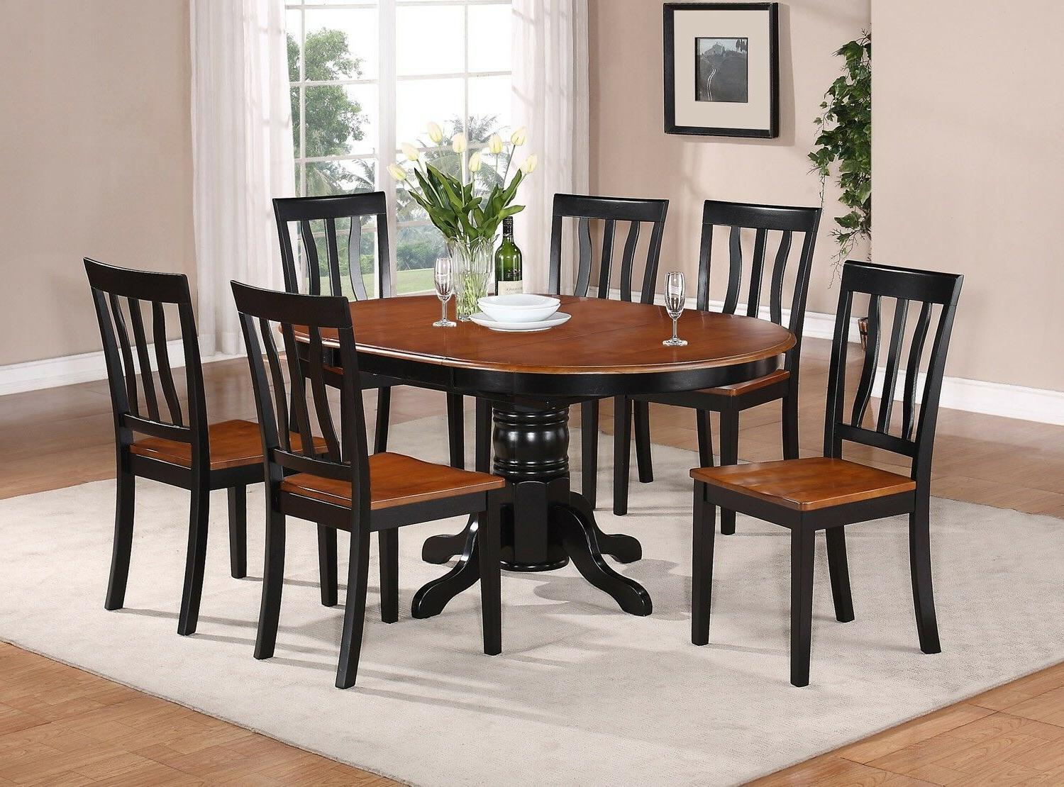 East West Furniture AVAT7-BLK-W 7-Piece Dining Table Set Bra
