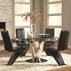 Coaster Barzini Black Round Glass Top Dining Table With Uph