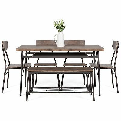 BCP 6-Piece Modern Set w/ Racks, Table, 4 -