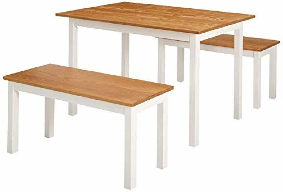 becky farmhouse dining table with two benches
