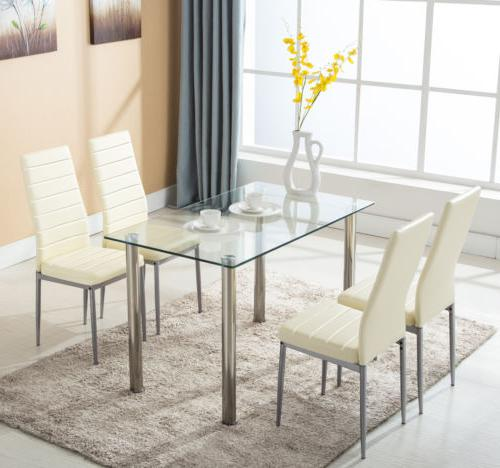 5 Glass Table Leather Dining Room Kitchen