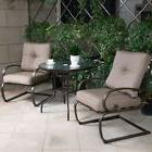Bistro Patio Furniture Set Outdoor Wrought Iron Tempered Gla