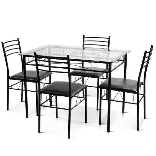 5 Tempered Glass & 4 Upholstered Chairs Home
