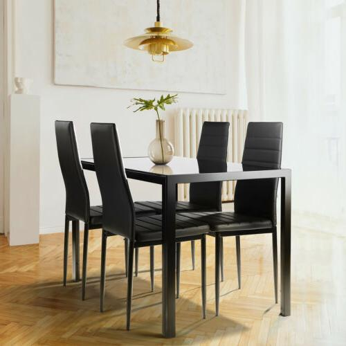 Family 5Piece Dining Table Set&4Chairs Faux Leather Kitchen