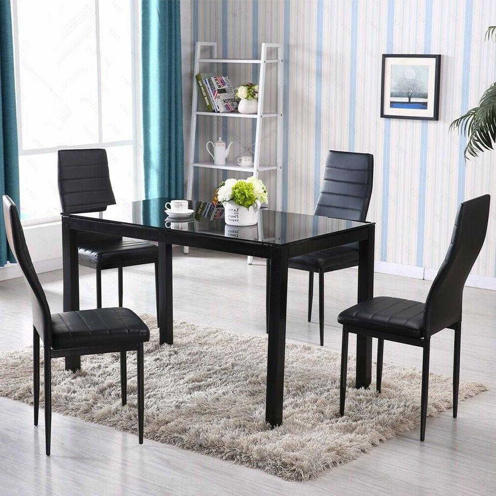 Black Glass Dining Table 4pcs Chairs Leather Room Set